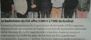 Le FLK Badminton offre 3 000 € à l'IME de Kerdiret